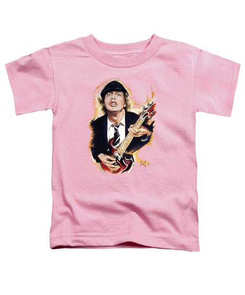 Angus Young Toddler T-Shirt by Melanie D