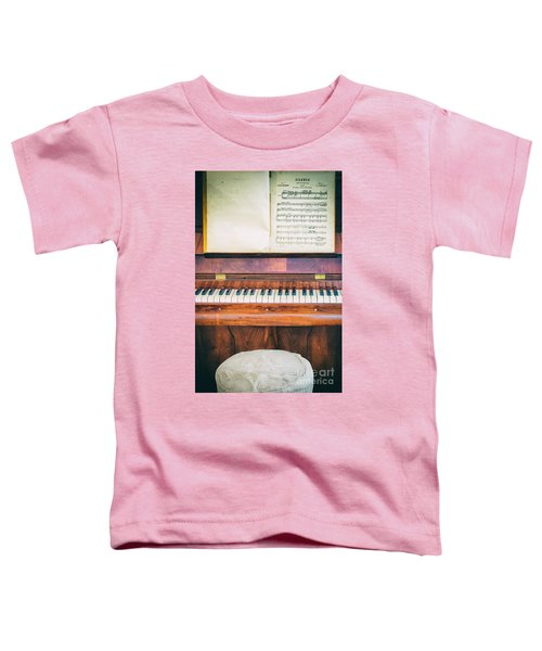 Toddler T-Shirt featuring the photograph Antique Piano And Music Sheet by Silvia Ganora