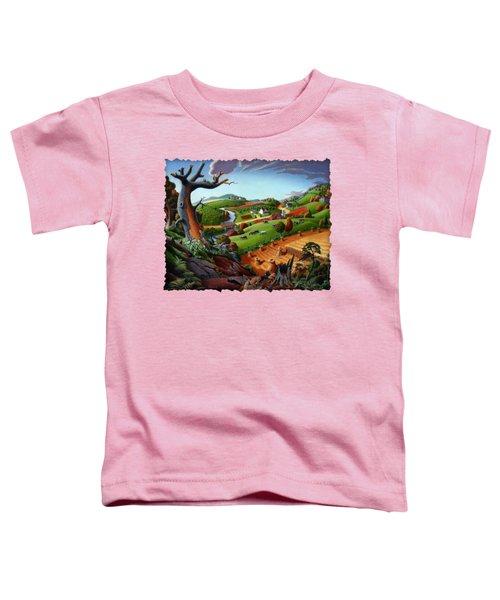 Appalachian Fall Thanksgiving Wheat Field Harvest Farm Landscape Painting - Rural Americana - Autumn Toddler T-Shirt