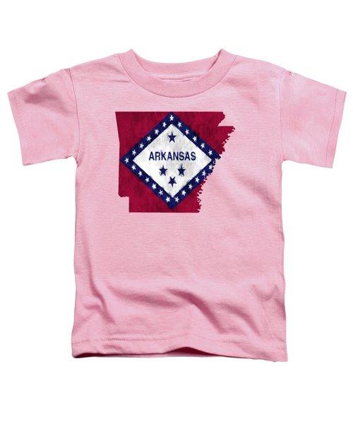 Arkansas Map Art With Flag Design Toddler T-Shirt