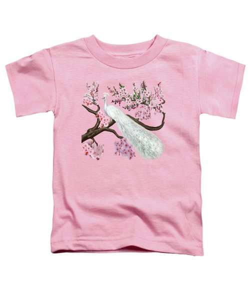 Cherry Blossom Peacock Toddler T-Shirt by Glenn Holbrook
