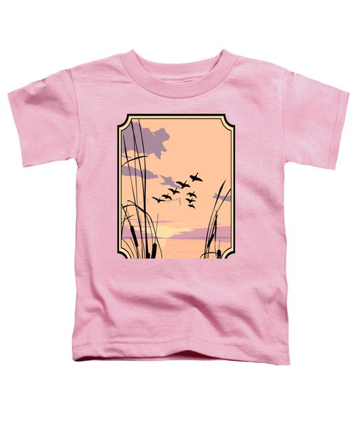 Abstract Ducks Sunset 1980s Acrylic Ducks Sunset Large 1980s Pop Art Nouveau Painting Retro      Toddler T-Shirt by Walt Curlee