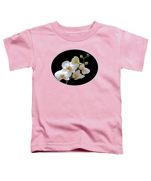Orchids On Black And Gold Toddler T-Shirt by Gill Billington