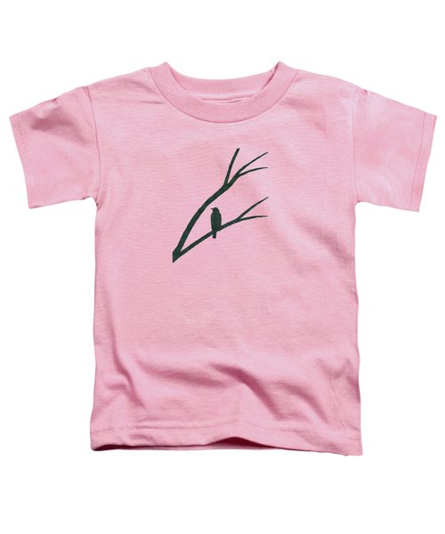 Green Bird Silhouette Plaid Bird Art Toddler T-Shirt