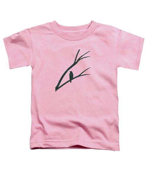 Green Bird Silhouette Plaid Bird Art Toddler T-Shirt