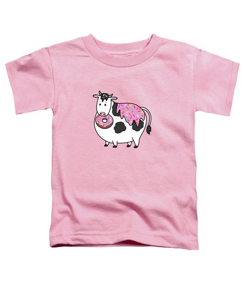 Funny Fat Holstein Cow Sprinkle Doughnut Toddler T-Shirt by Crista Forest