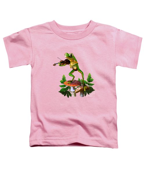 Humorous Tree Frog Playing A Fiddle Toddler T-Shirt by Regina Femrite