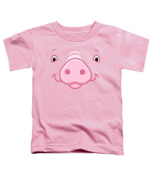 Cute Happy Pink Pig Big Face Toddler T-Shirt