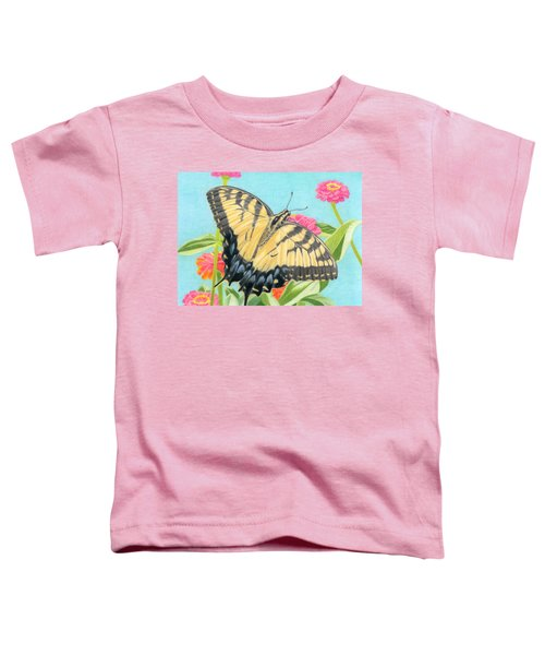 Swallowtail Butterfly And Zinnias Toddler T-Shirt by Sarah Batalka