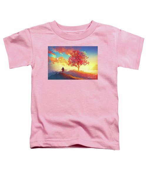 Toddler T-Shirt featuring the painting Autumn Sunrise by Tithi Luadthong
