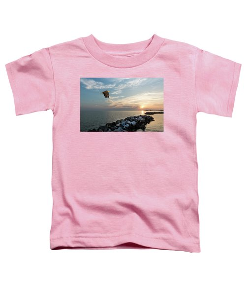 Bald Eagle Flying Over A Jetty At Sunset Toddler T-Shirt