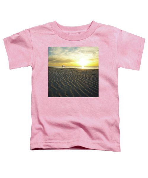 Beach Silhouettes And Sand Ripples At Sunset Toddler T-Shirt