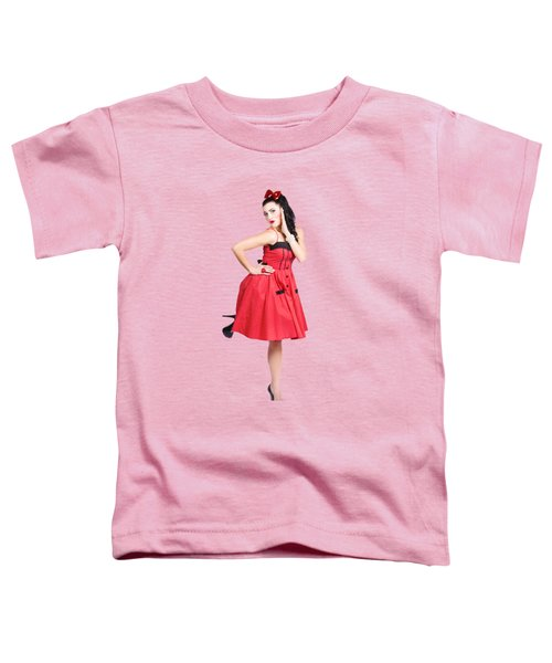Beautiful Brunette Pinup Girl In Red Retro Dress Toddler T-Shirt
