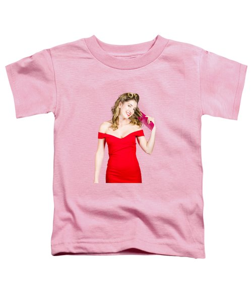 Toddler T-Shirt featuring the photograph Beautiful Woman With Long Curly Hair And Brush by Jorgo Photography - Wall Art Gallery