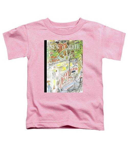 Biking In The Rain Toddler T-Shirt