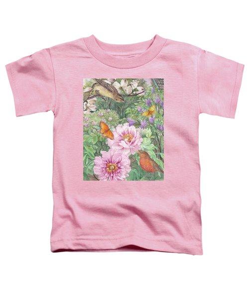 Birds Peony Garden Illustration Toddler T-Shirt