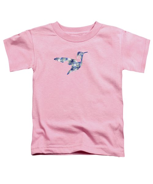 Blue Floral Hummingbird Art Toddler T-Shirt