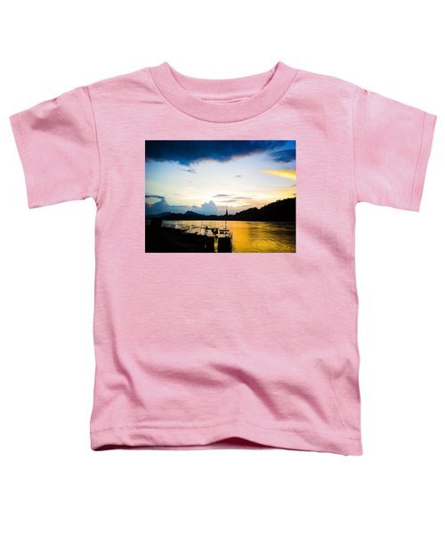 Boats In The Mekong River, Luang Prabang At Sunset Toddler T-Shirt