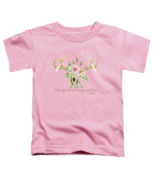 Boho Love - Deer Antlers Floral Inspirational Toddler T-Shirt by Audrey Jeanne Roberts