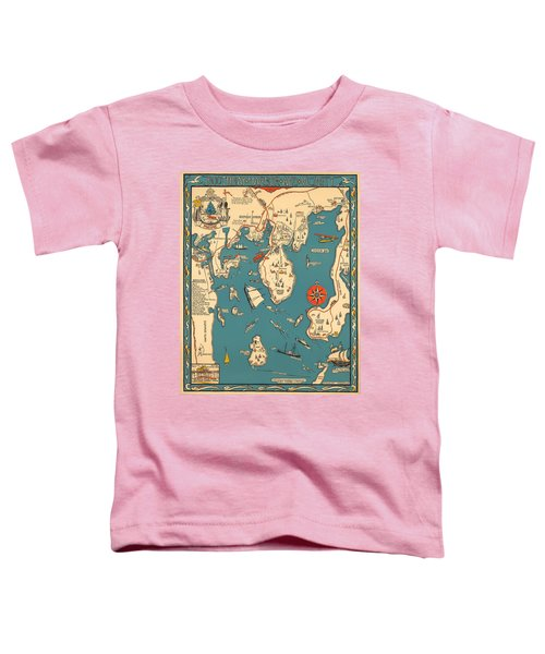 Boothbay Harbor And Vicinity - Vintage Illustrated Map - Pictorial - Cartography Toddler T-Shirt