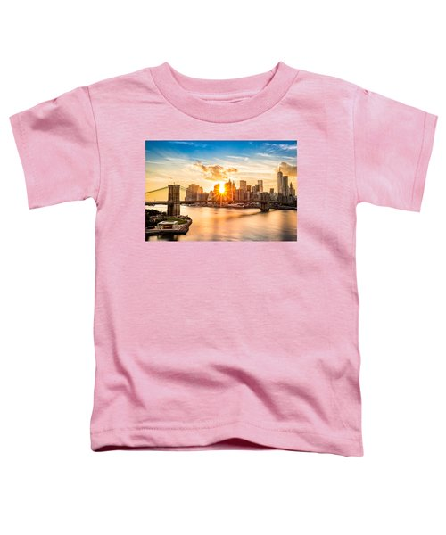 Brooklyn Bridge And The Lower Manhattan Skyline At Sunset Toddler T-Shirt