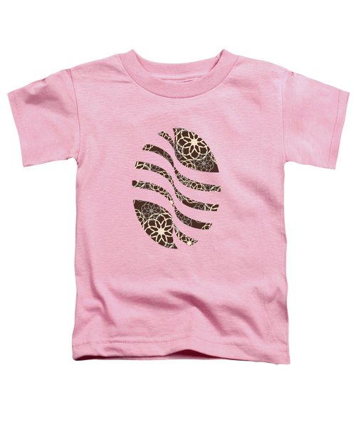 Brown And Silver Floral Pattern Toddler T-Shirt