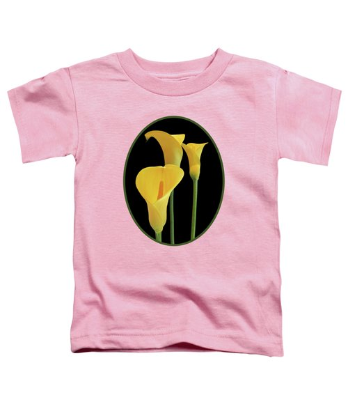 Calla Lilies - Yellow On Black Toddler T-Shirt