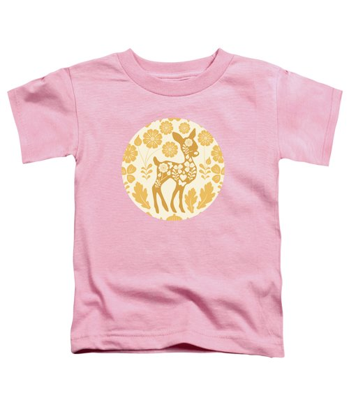 Chestnut Woodland Folk Deer Toddler T-Shirt