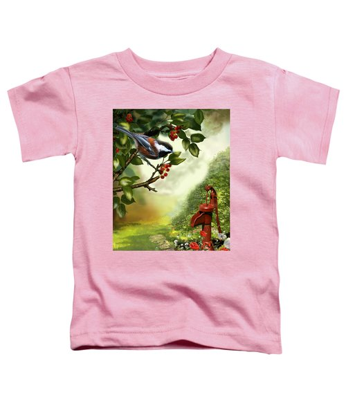 Chickadee Visiting The Water Pump Toddler T-Shirt by Regina Femrite