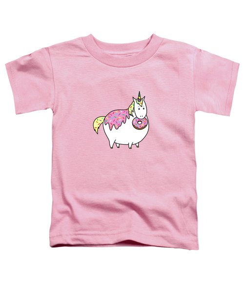 Chubby Unicorn Eating Sprinkle Doughnut Toddler T-Shirt by Crista Forest