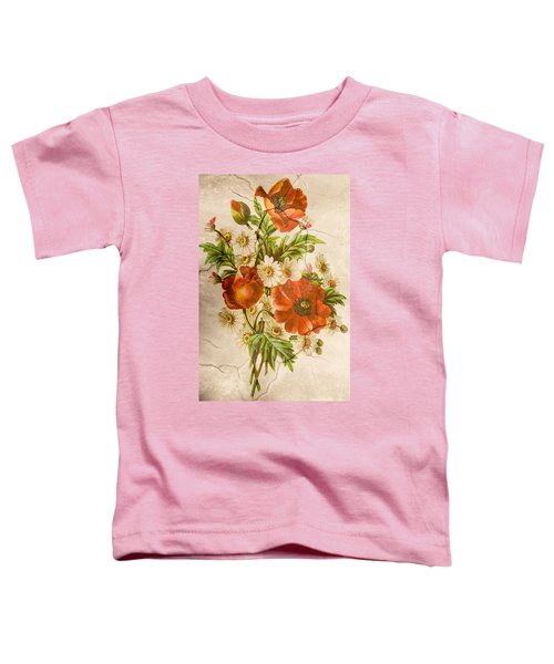Classic Vintage Shabby Chic Rustic Poppy Bouquet Toddler T-Shirt