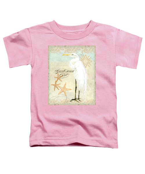 Coastal Waterways - Great White Egret 3 Toddler T-Shirt by Audrey Jeanne Roberts