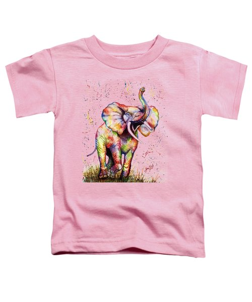 Toddler T-Shirt featuring the painting Colorful Watercolor Elephant by Georgeta Blanaru