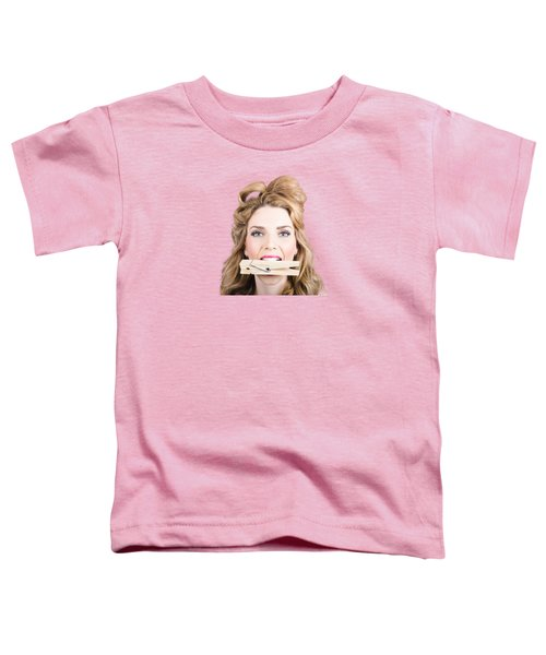 Comical Pinup Girl With Big Laundry Peg In Mouth Toddler T-Shirt