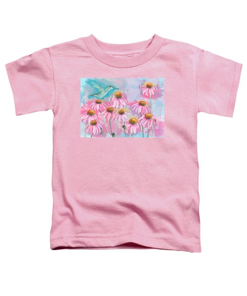 Coneflower Hummingbird Watercolor Toddler T-Shirt