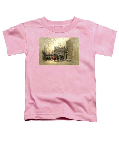Toddler T-Shirt featuring the painting Couple In City by Tithi Luadthong