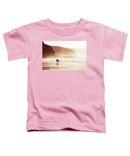 Couple Walking On Beach With Fog Toddler T-Shirt
