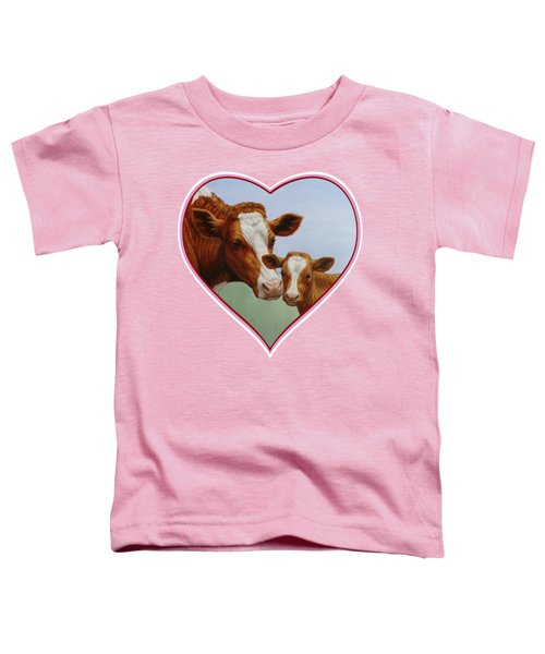 Cow And Calf Pink Heart Toddler T-Shirt by Crista Forest