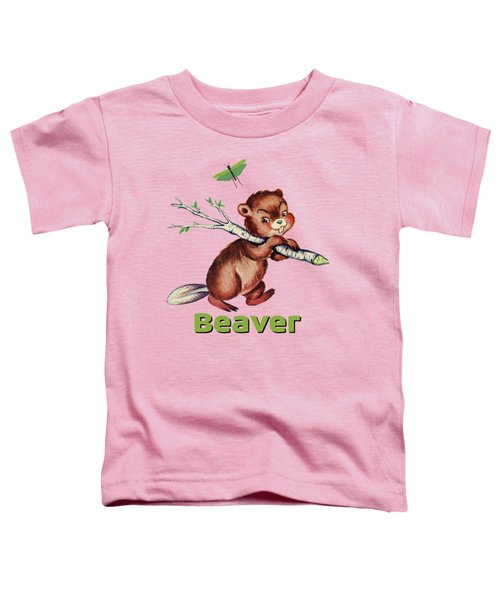 Cute Baby Beaver Pattern Toddler T-Shirt