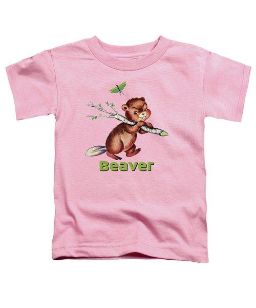 Cute Baby Beaver Pattern Toddler T-Shirt