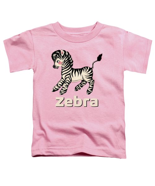 Cute Baby Zebra Pattern Vintage Book Illustration Pattern Toddler T-Shirt by Tina Lavoie