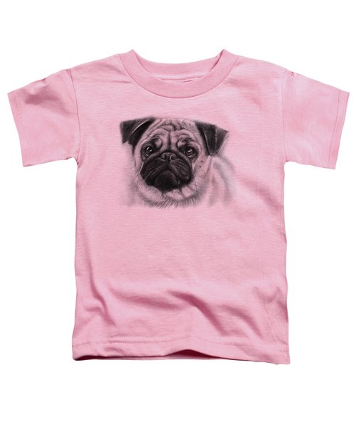 Cute Pug Toddler T-Shirt by Olga Shvartsur