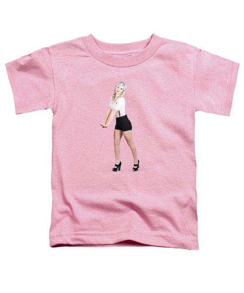 Cute Vintage Woman Isolated Over White Background Toddler T-Shirt