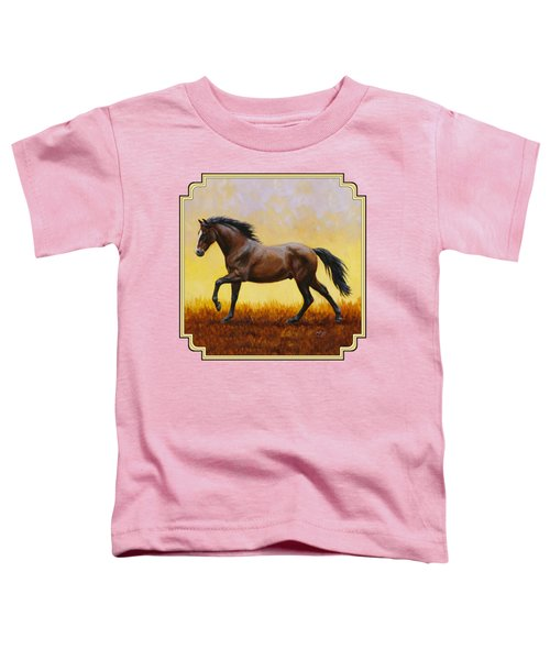 Dark Bay Running Horse Yellow Toddler T-Shirt