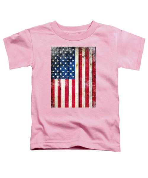 Distressed American Flag On Wood - Vertical Toddler T-Shirt