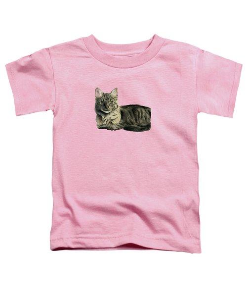 Domestic Medium Hair Cat Watercolor Painting Toddler T-Shirt