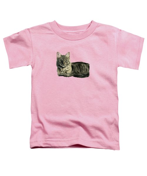 Domestic Medium Hair Cat Watercolor Painting Toddler T-Shirt