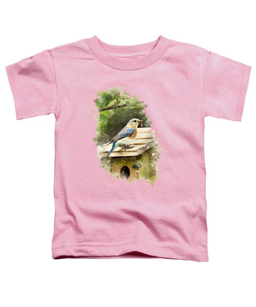 Eastern Bluebird Watercolor Art Toddler T-Shirt by Christina Rollo