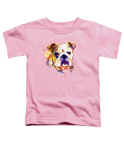 English Bulldog Head Toddler T-Shirt by Marian Voicu