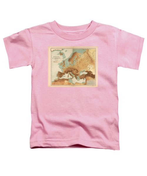 Europe - Geological Map Showing Land And Water Resources - Historical Map - Antique Relief Map Toddler T-Shirt